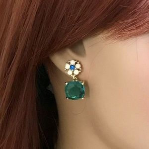 Badgley Mischka Aqua Blue Glass Earrings